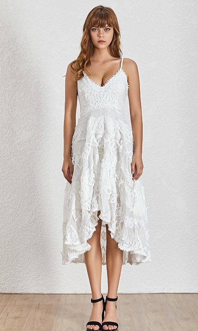 Take It Slow White Sheer Mesh Dot Lace Sleeveless Spaghetti Strap V Neck Ruffle Tier Casual High Low Maxi Dress