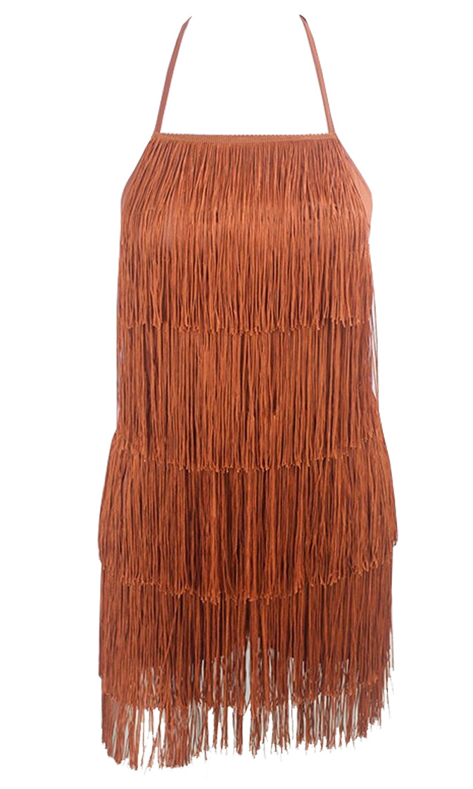 Feeling The Thrill Fringe Tier Sleeveless Spaghetti Strap Tie Halter Backless Mini Dress - 2 Colors Available