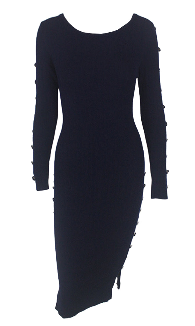 Self Made Navy Blue Button Long Sleeve Scoop Neck Bodycon Sweater Midi Dress