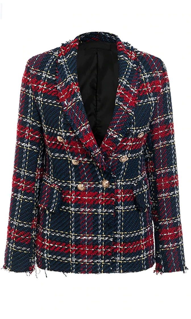 Coming Out To Play Navy Blue Red White Plaid Pattern Tweed Long Sleeve Button Double Breasted Blazer Jacket Outerwear - Sold Out