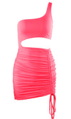 Heating Things Up Hot Pink Sleeveless One Shoulder Cut Out Side Ruched Bodycon Mini Dress - 5 Colors Available