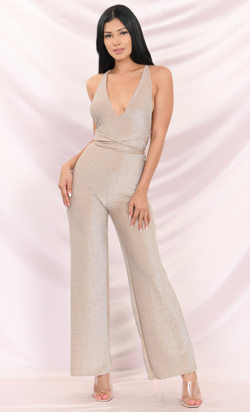 In The Glitz Sleeveless Glitter Lurex Plunge V Neck Backless Wide Leg Loose Jumpsuit - 2 Colors Available