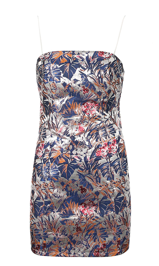 Flirt A Bit Blue Tropical Floral Leaf Pattern Sleeveless Spaghetti Strap Square Neck Embroidery Bodycon Mini Dress