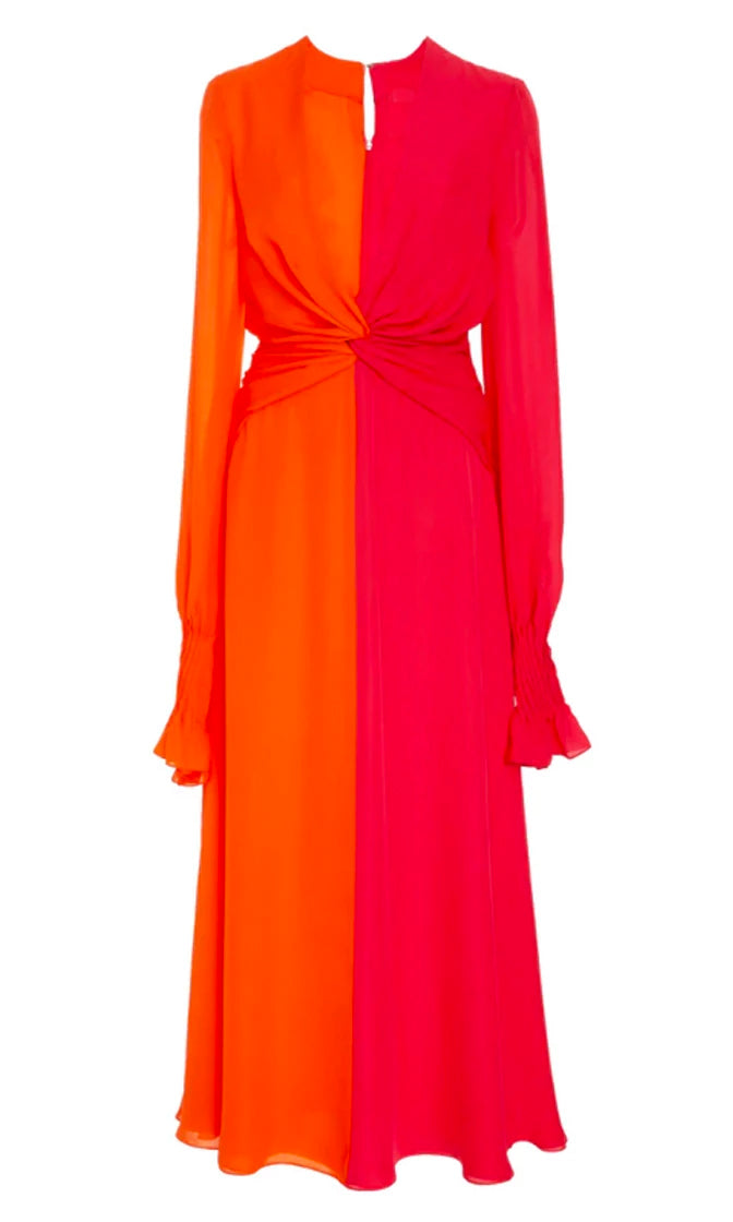 Strange But True Orange Pink Long Lantern Sleeve Plunge V Neck Twist Knot Casual Maxi Dress