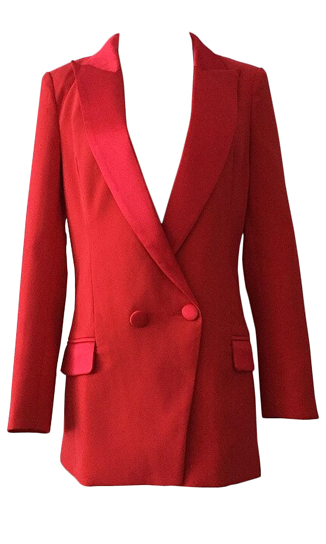Shark Tank Red Long Sleeve Two Button Lapel Long Blazer Jacket Outerwear