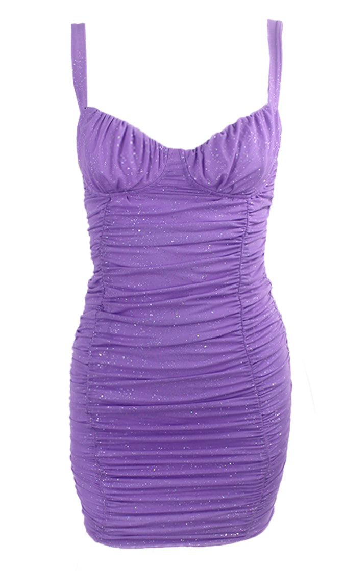 Tequila Sunrise Purple Glitter Mesh Sparkly Stretch Thin Strap Sleeveless Ruched Bustier Bodycon Mini Dress
