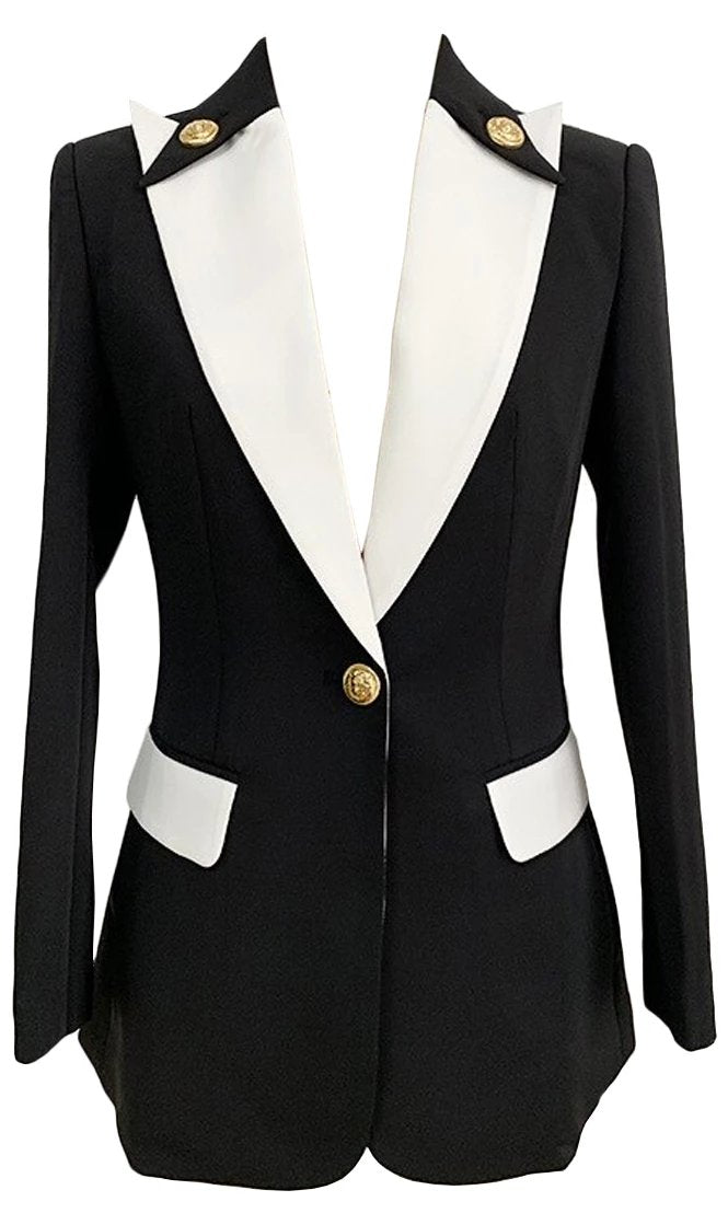 Listen To Me Now Black White Long Sleeve Lapel Gold Button Blazer Jacket Outerwear