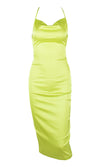 Watch Me Shine Neon Yellow Satin Sleeveless Spaghetti Strap Lace Up Backless Drape V Neck Bodycon Midi Dress