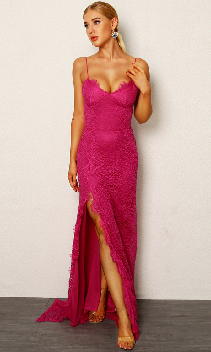 Fancy Pants Navy Lace Sleeveless Spaghetti Strap V Neck High Slit Bodycon Maxi Dress - 4 Colors Available