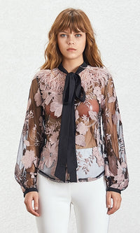 Queen Of Kyoto Sheer Mesh Floral Pattern Long Lantern Sleeve Feather Tie Neck Blouse Top - Sold Out