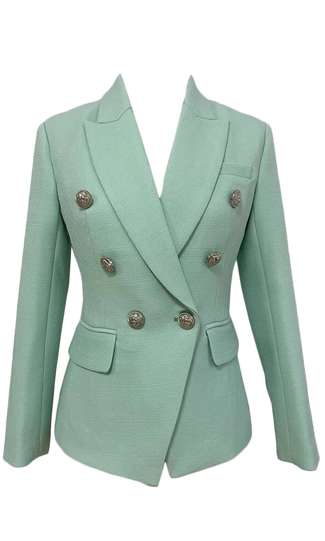 Morning Meeting Mint Green Long Sleeve Button V Neck Lapel Blazer Jacket Outerwear