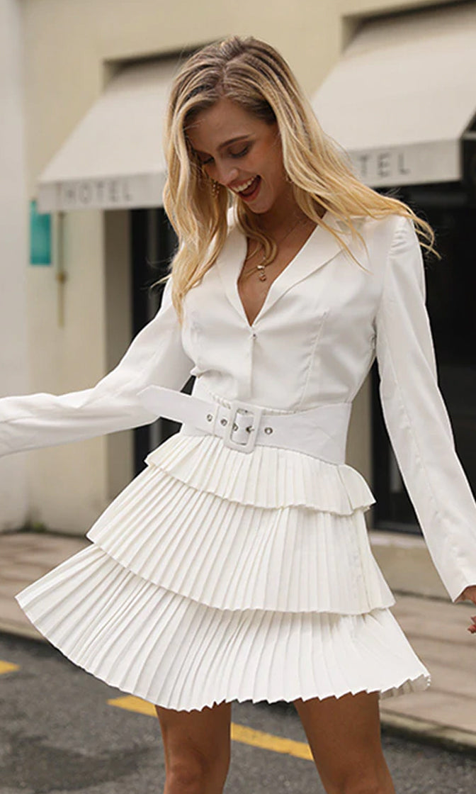 Look At Her Now White Long Sleeve V Neck Belted Pleated Flare Tier A Line Mini Dress