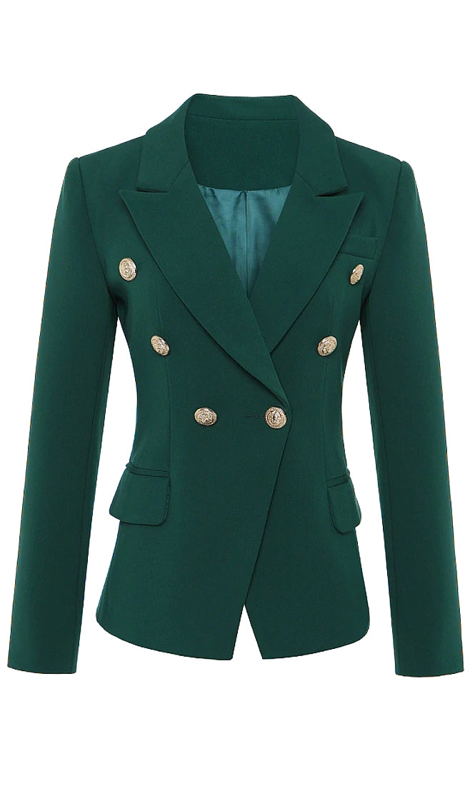 Off The Cuff Emerald Green Long Sleeve Button V Neck Lapels Blazer Jacket Outerwear