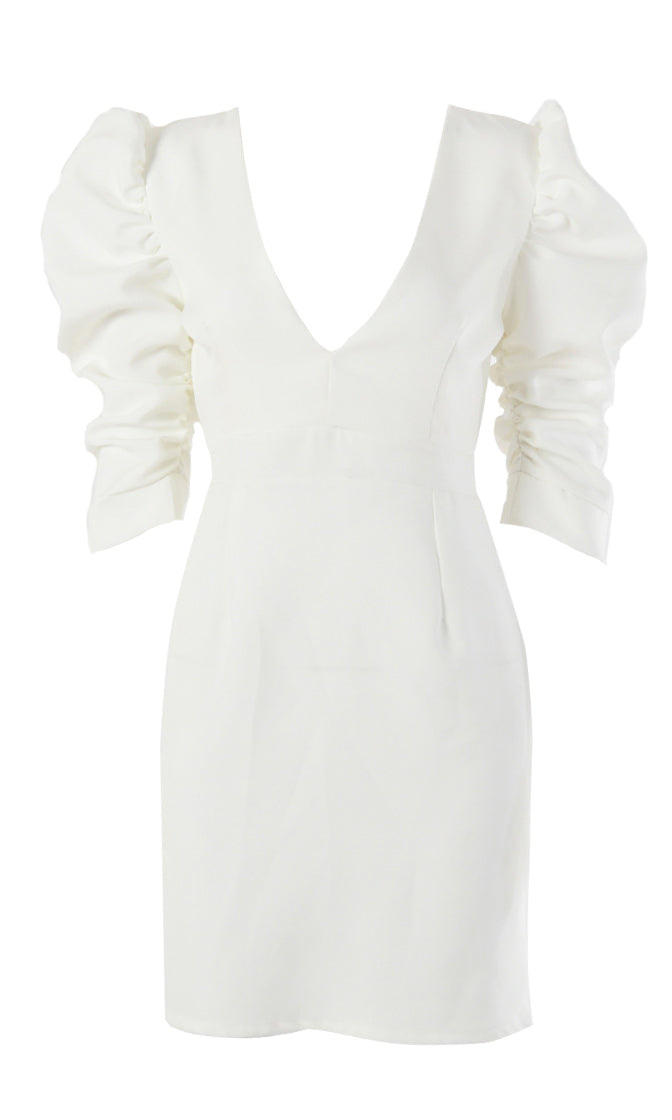 Angel On Display White Short Puff Sleeve Plunge V Neck Cut Out Back Bodycon Mini Dress