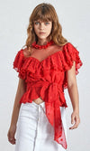 Beautiful Dreamer Red Sheer Mesh Polka Dot Short Sleeve Ruffle Mock Neck Tie Waist Blouse Top - 3 Colors Available