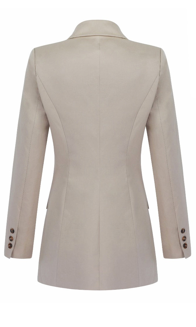 Most Likely Beige Long Sleeve Double Breasted V Neck Lapel Blazer Outerwear