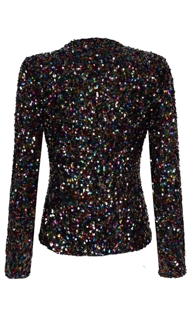 Throwing Confetti Black Pearl Button Sequin Long Sleeve Crop Outerwear Jacket