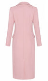 Don't Be Shy Pink Faux Fur Trim Long Sleeve V Neck Collar Long Maxi Coat Outerwear - Sold Out