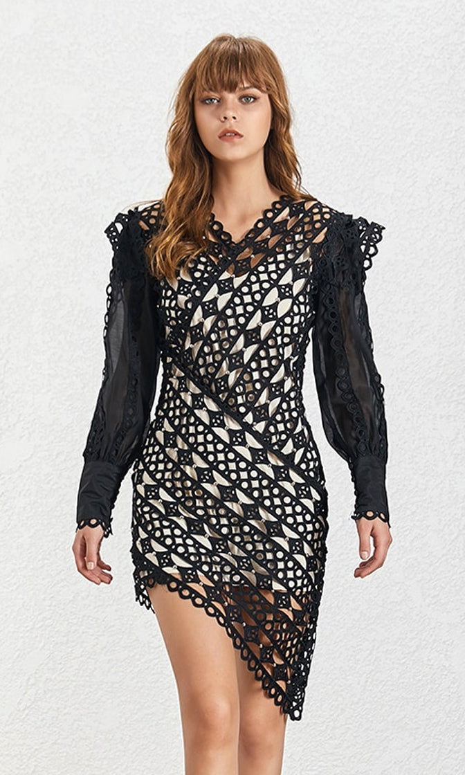 Evening At The Louvre Black Lace Long Lantern Sleeve V Neck Asymmetrical High Low Casual Mini Dress - 2 Colors Available - Sold Out