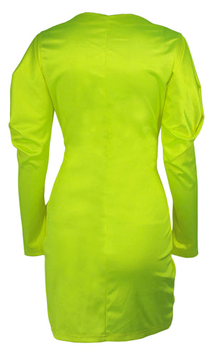 Bright Moment Neon Green Long Sleeve Puff Shoulder Cross Wrap V Neck Ruffle Mini Dress