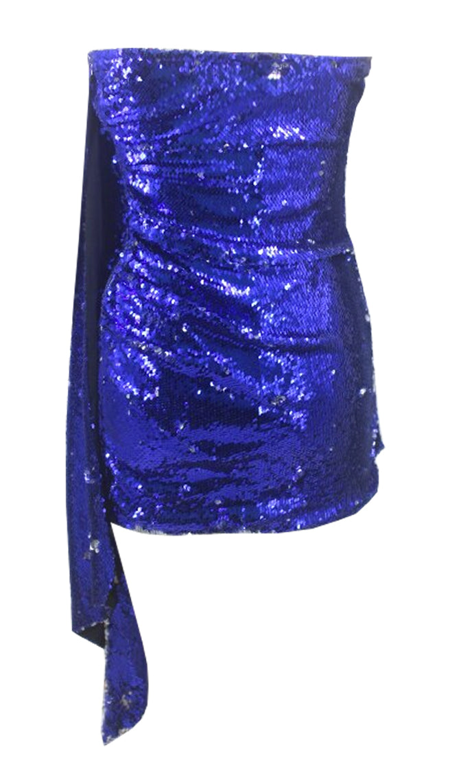 Looking Like A Star Blue Sequin Strapless Drape Wrap Bodycon Mini Dress