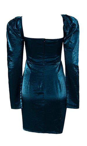 Mystery Woman Blue Metallic Stiff Taffeta Teal Iridescent Long Sleeve Puff Shoulder Sweetheart Neck Ruched Tulip Bodycon Mini Dress