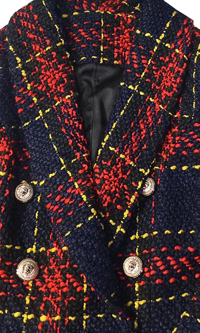 Look My Way Navy Blue Red Yellow Plaid Pattern Long Sleeve Gold Button Woolen Double Breast Blazer Jacket Outerwear