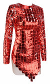 Checkered Past Red Sequin Plaid Pattern Long Sleeve Crew Neck Sheer Mesh Bodycon Mini Dress - Sold Out