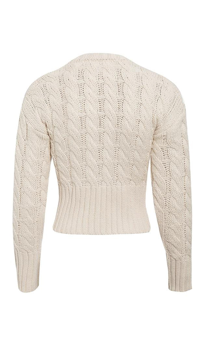 Covering Up Cable Knit Rib Trim Long Sleeve Crew Neck Button Cropped Cardigan Sweater - 2 Colors Available