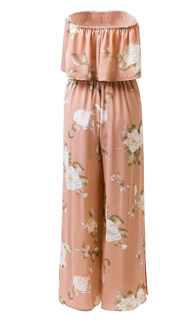 Little Thrills Pink Floral Pattern Strapless Crop Top Wide Leg Slit Two Piece Jumpsuit - Sold Out