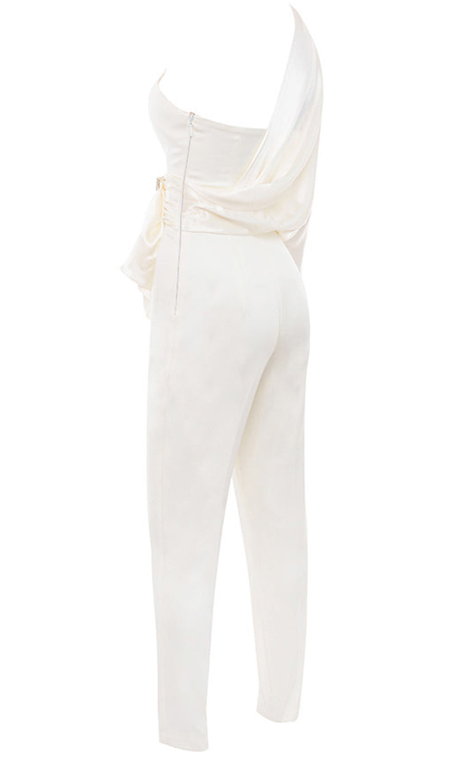 Trending Now White One Long Sleeve Satin Drape V Neck Rhinestone Belt Skinny Jumpsuit