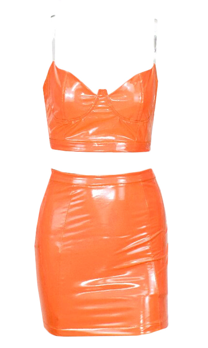You're The One Orange Faux Leather Bustier Clear Spaghetti Strap Crop Top Two Piece Bodycon Mini Skirt Dress Set