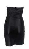 Couldn't Resist Black PU Faux Leather Strapless V Neck Bodycon Mini Dress