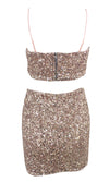 Private Party Sequin Sleeveless Spaghetti Strap Crop Top Two Piece Bodycon Mini Dress - 2 Colors Available