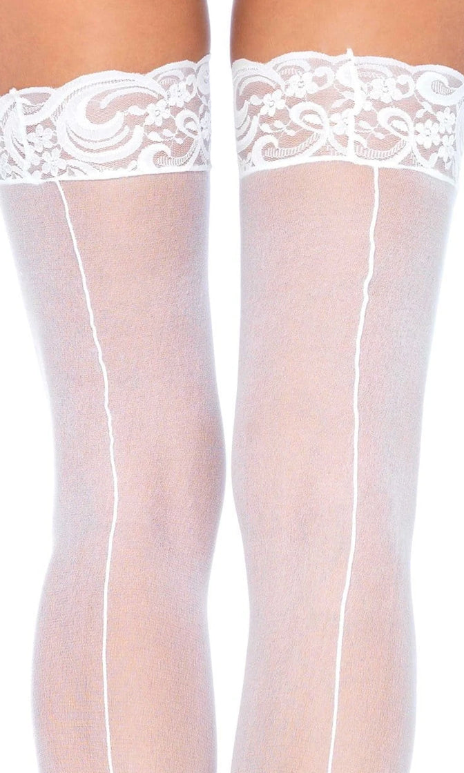 Live With It Sheer Lace Top Back Seam Thigh High Stockings Tights Hosiery - 4 Colors Available