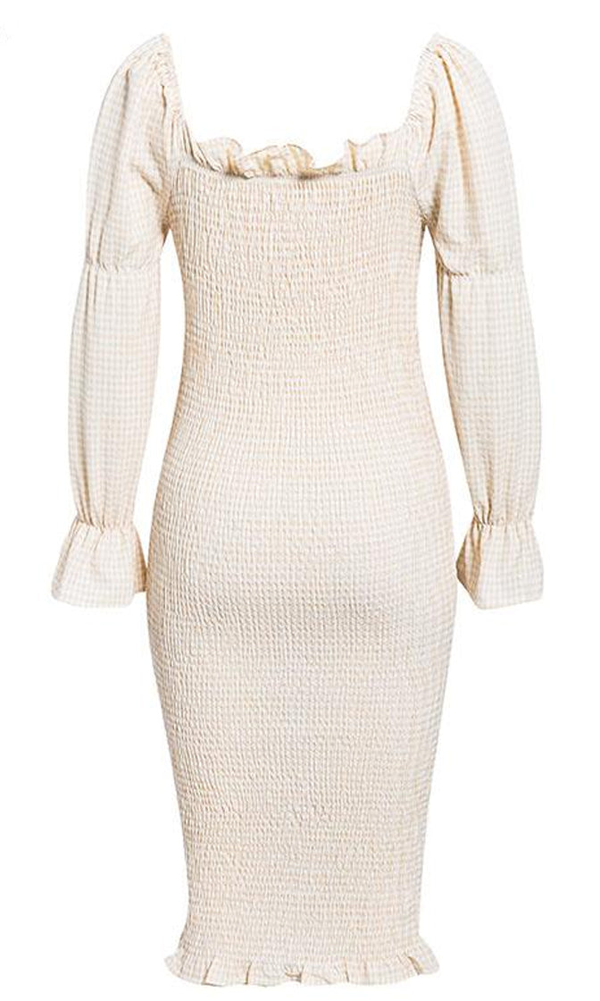 Sooner Or Later Beige White Gingham Plaid Pattern Long Puff Sleeve Off The Shoulder Ruffle Casual Bodycon Midi Dress