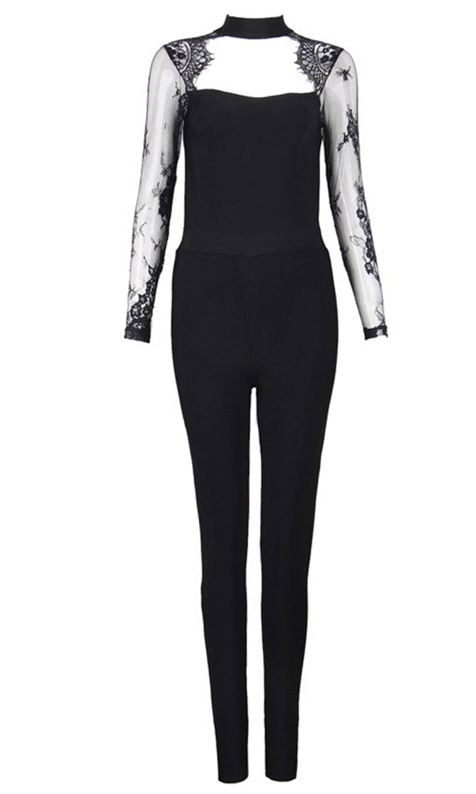 Foxy Lady Black Long Lace Sleeve Cut Out Sweetheart Bustier Skinny Leg Bandage Jumpsuit