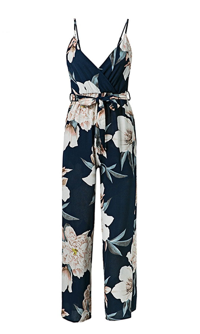 Cross My Heart Navy Blue White Floral Spaghetti Strap Sleeveless V Neck Tie Belted Jumpsuit
