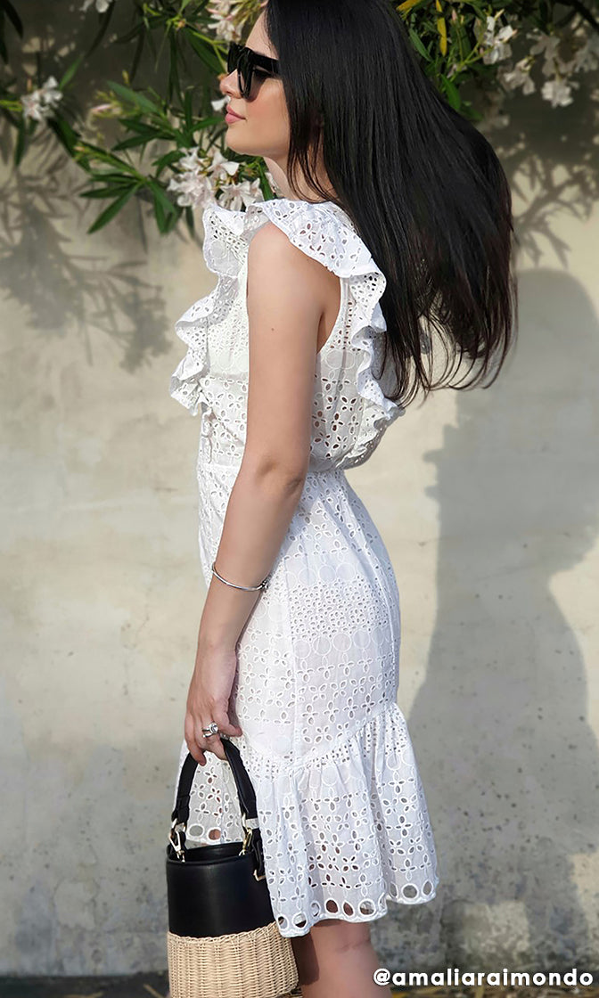 Keep A Secret White Cotton Eyelet Lace Sleeveless Ruffle V Neck Cut Out Back Casual A Line Flare Mini Dress