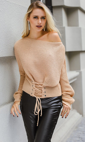 Varsity Chic Black Brown White Stripe Pattern Long Sleeve Off The Shoulder Pullover Sweater