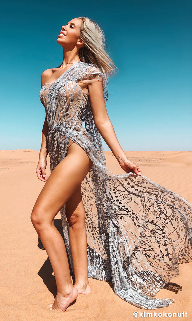 Endless Night Silver Sheer Mesh Glitter Floral Pattern Sleeveless Draped Sleeve High Slit Maxi Dress