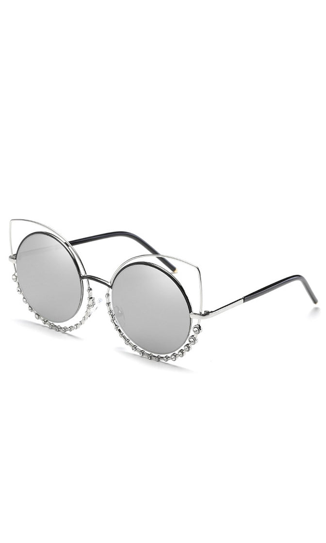 A Million Reasons Metal Cat Eye Cut Out Rhinestone Bead Sunglasses - 9 Colors Available