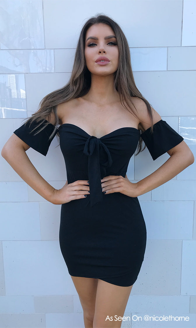 Hot Number Short Sleeve Off The Shoulder Bow Cut Out Casual Bodycon Mini Dress - 4 Colors Available