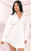 Board Meeting Long Puff Sleeve Button Front Cinched Waist Mini Shirt Dress - 2 Colors Available