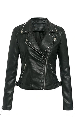 Every Little Step PU Faux Leather Studded Long Sleeve Asymmetric Zip Moto Jacket Outerwear - 2 Colors Available - Sold Out