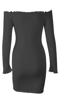 Buttoned Up Long Sleeve Ribbed Off The Shoulder Button Front Bodycon Casual Mini Dress - Sold Out