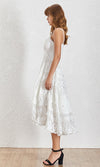 Take It Slow White Sheer Mesh Dot Lace Sleeveless Spaghetti Strap V Neck Ruffle Tier Casual High Low Maxi Dress - Sold Out