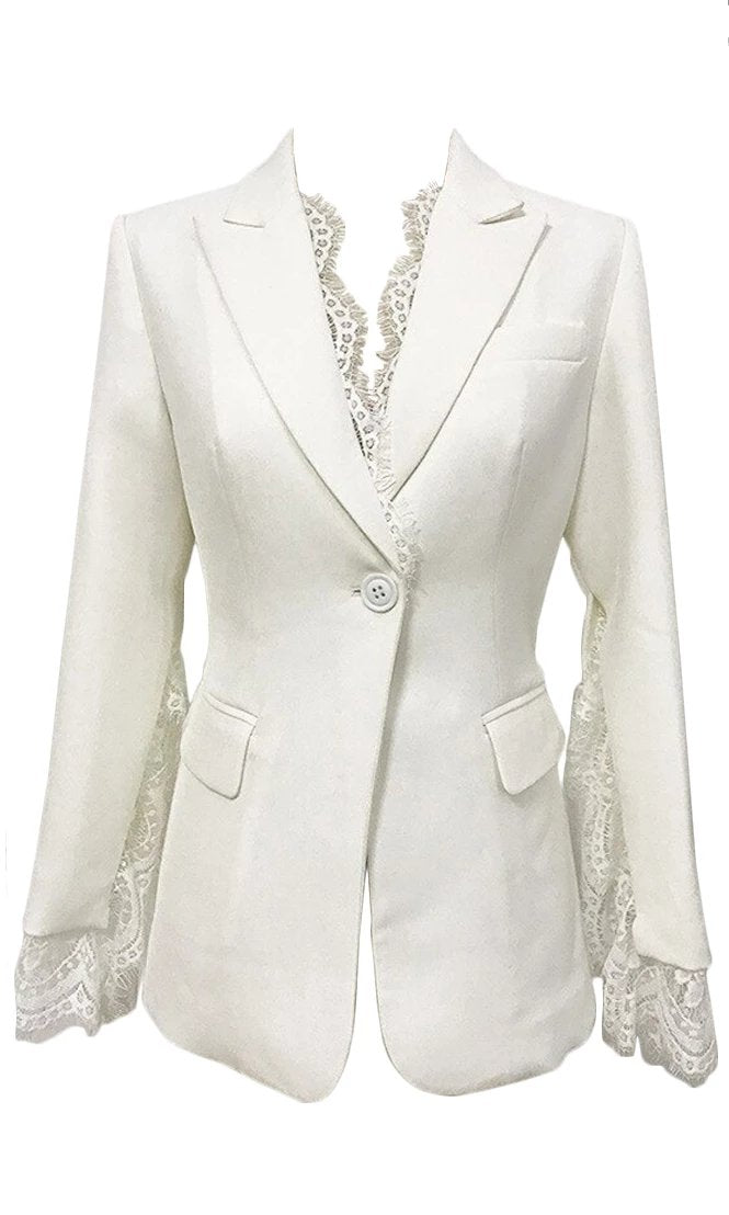 On My Best Behavior Lace Trim Long Sleeve V Neck Button Blazer Jacket Outerwear - 2 Colors Available