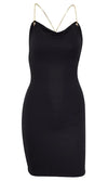 Time To Leave Sleeveless Chain Strap Backless V Neck Bodycon Mini Dress - 2 Colors Available