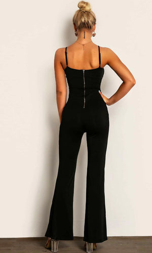 Knot Afraid Black Sleeveless Spaghetti Strap V Neck Tie Cut Out Waist Flare Leg Jumpsuit